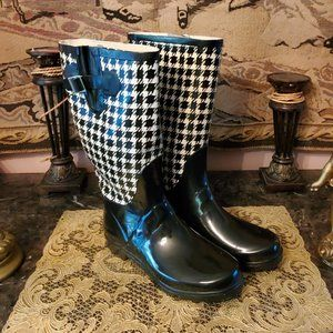 HENRY FERRERA  Houndstooth Pattern Rain Boots